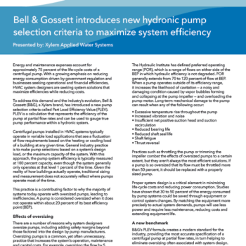 Pump Selection: Bell And Gossett Pump Selection