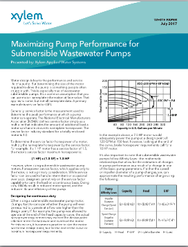 Maximizing Pump Performance for Submersible Wastewater ...